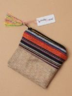 Imitation jute fabric zip purse (Code 3849)